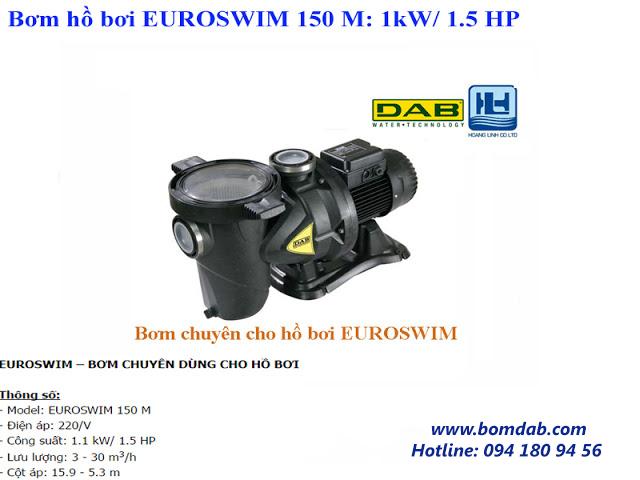 máy bơm hồ bơi euroswim 150M